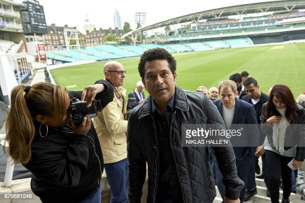 Indian cricket legend Sachin Teldulkar departs after a photocall at the Oval cricket ground in south London on May 6 promoting the upcoming release...