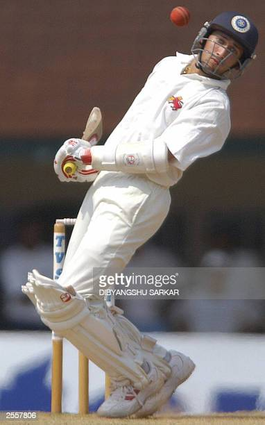 Indian cricket player Ajit Agarkar backs away from a high pitched delivery during the third day of the fiveday Irani Trophy in Madras 20 September...