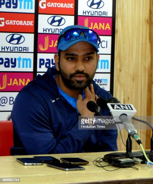 Indian Cricket player Rohit Sharma ahead of his first assignment as ODI captain during a press conference at Himachal Pradesh Cricket Association...