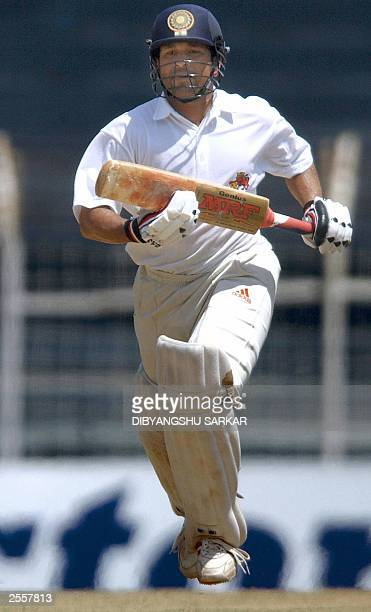 Indian cricket player Sachin Tendulkar tries to complete a run during the third day of the fiveday Irani Trophy in Madras 20 September 2003 Indian...