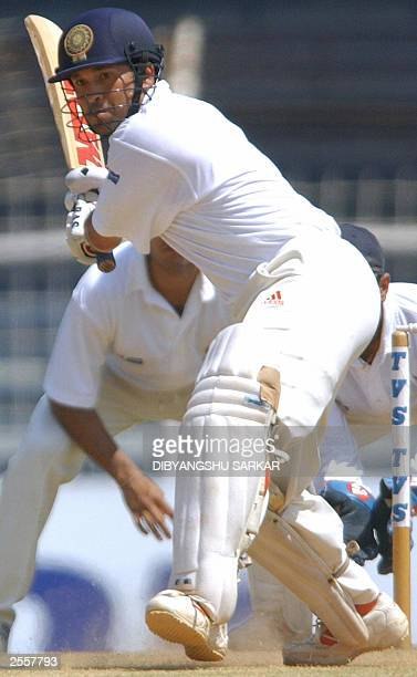 Indian cricket player Sachin Tendulkar tries to hit a ball during the third day of the fiveday Irani Trophy in Madras 20 September 2003 Indian...