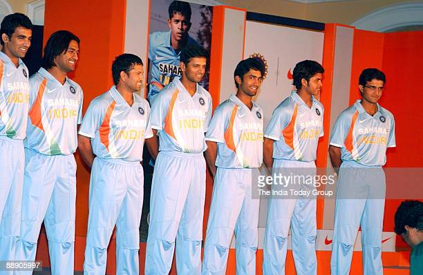 Indian Cricket Players Zaheer Khan Mahendra Singh Dhoni Sachin Tendulkar Rahul Dravid Dinesh Karthick Shanthakumaran Sreesanth and Saurav Ganguly...
