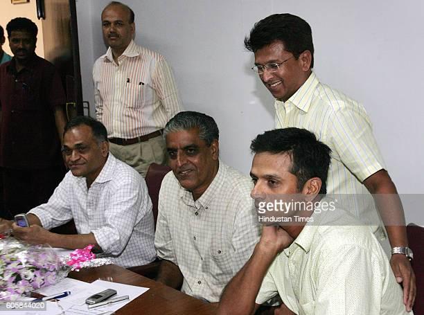 Indian Cricket selection comittee members BCCI Sec Niranjan Shah Sanjay Jagdale Kiran More and captain Rahul Dravid at a meeting to elect teams for...