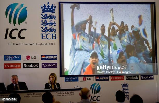 Indian cricket team are displayed a big screen as part of a presentation during a press conference to launch the fixtures and ticket details for the...