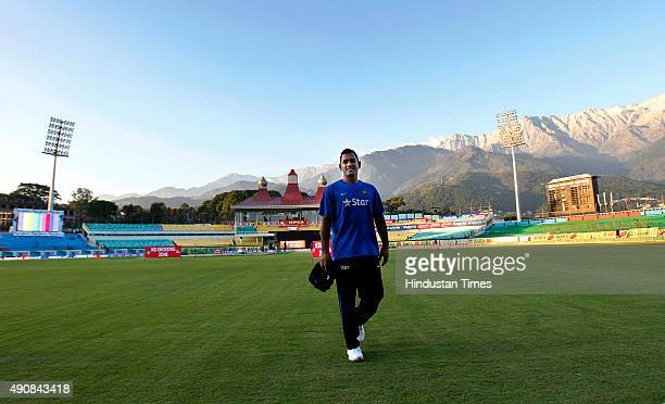 Indian cricket team captain MS Dhoni during the net practice session at Himachal Pradesh Cricket Association Stadium on October 1 2015 in Dharamshala...