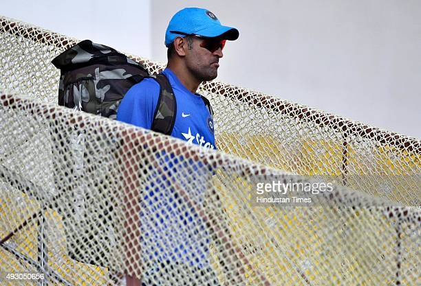 Indian cricket team Captain MS Dhoni during the practice session on the eve of 3rd One Day International cricket match against India at Saurashtra...