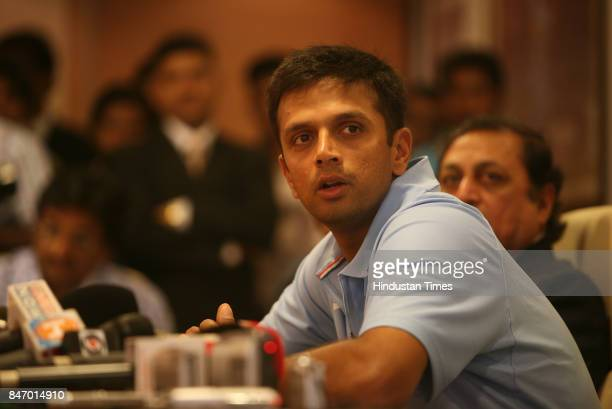Indian Cricket team captain Rahul Dravid answers a question during a press conference in BCCI office Wankhede stadium The Indian team will leave the...