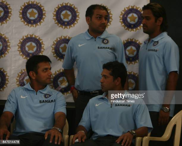 Indian Cricket team captain Rahul Dravid Sachin Tendulkar Virender Sehwag and Mahendra Singh Dhoni at BCCI office Wankhede stadium The Indian team...