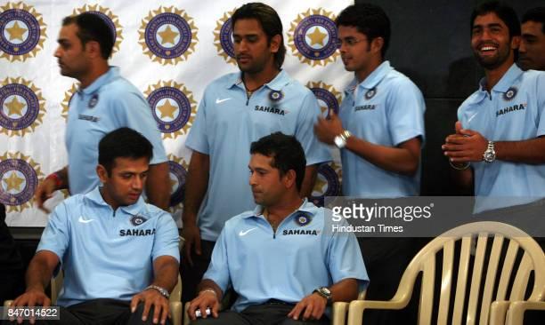 Indian Cricket team captain Rahul Dravid Sachin Tendulkar Virender Sehwag Mahendra Singh Dhoni S Sreesanth and Dinesh Karthick at BCCI office...