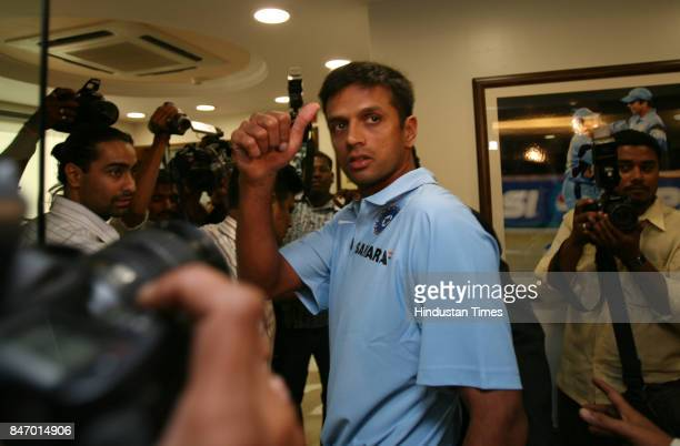 Indian Cricket team captain Rahul Dravid showing thumbs up after the press conference at BCCI office Wankhede stadium The Indian team will leave the...