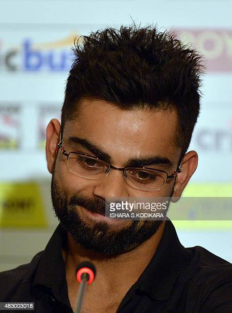 Indian cricket team captain Virat Kohli addresses a press conference in Colombo on August 5 2015 India will play three Test Series in Sri Lanka from...