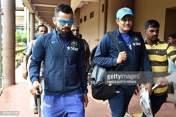 Indian cricket team captain Virat Kohli and the newly appointed head coach Anil Kumble leave the National Cricket Academy where the Indian cricket...