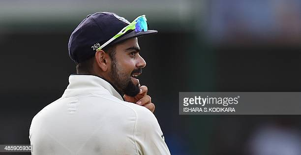 Indian cricket team captain Virat Kohli looks on during the third day of their third and final Test cricket match between Sri Lanka and India at the...