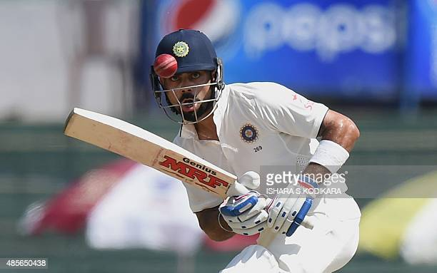 Indian cricket team captain Virat Kohli plays a shot during the second day of their third and final Test cricket match between Sri Lanka and India at...