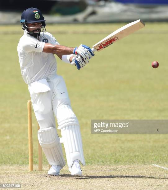 Indian cricket team captain Virat Kohli plays a shot during the final day of the twoday warmup match between Sri Lanka Board President's XI and India...