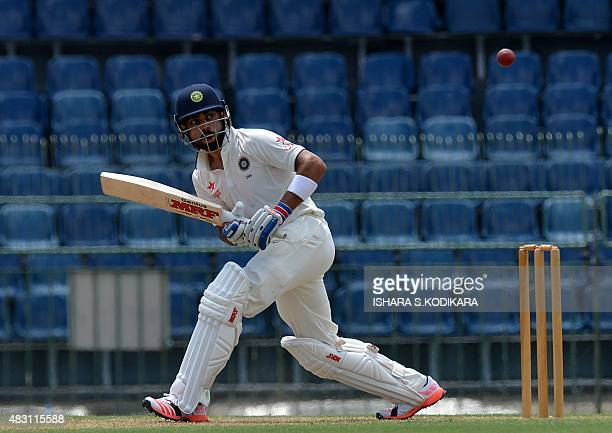 Indian cricket team captain Virat Kohli plays a shot during the first day of the threeday warmup match between Sri Lanka Board President's XI and...