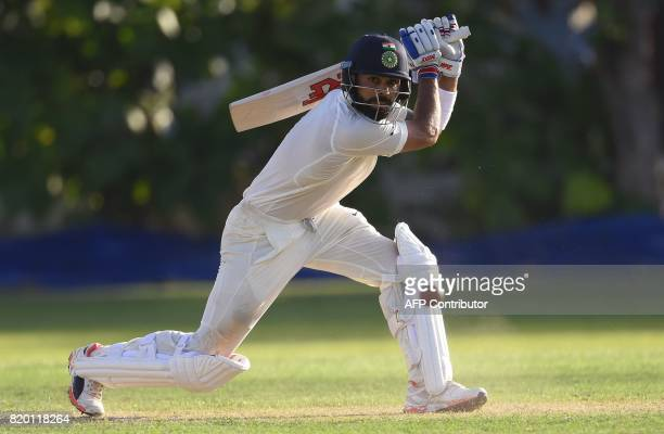 Indian cricket team captain Virat Kohli plays a shot during the first day of the twoday warmup match between Sri Lanka Board President's XI and India...