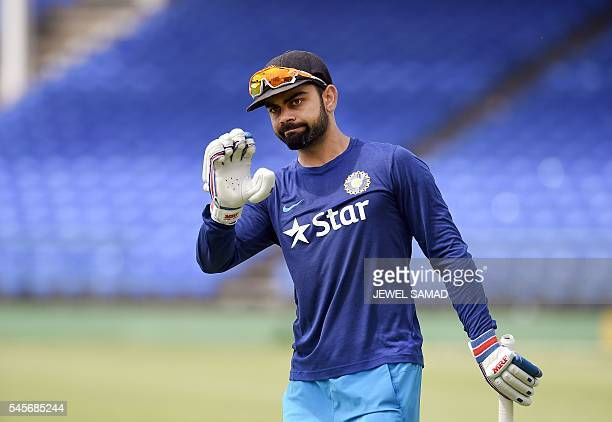 Indian cricket team captain Virat Kohli practice batting before the start of a tour match between India and WICB President's XI squad at the Warner...