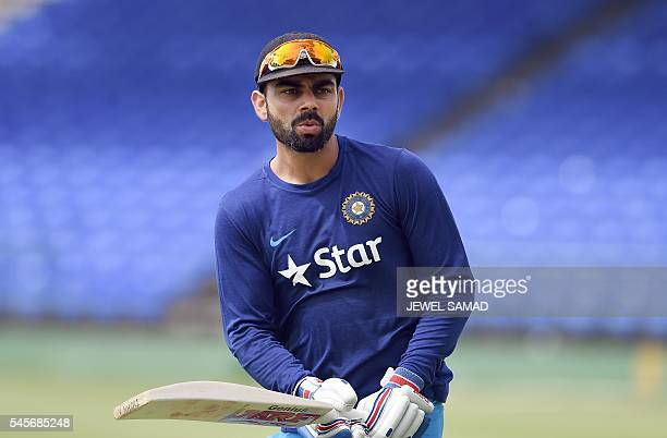 Indian cricket team captain Virat Kohli practices before the start of a tour match between India and WICB President's XI squad at the Warner Park...