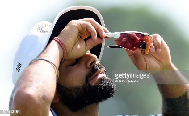 Indian cricket team captain Virat Kohli reacts during a practice session at Galle International Cricket Stadium in Galle on July 25 2017 India will...