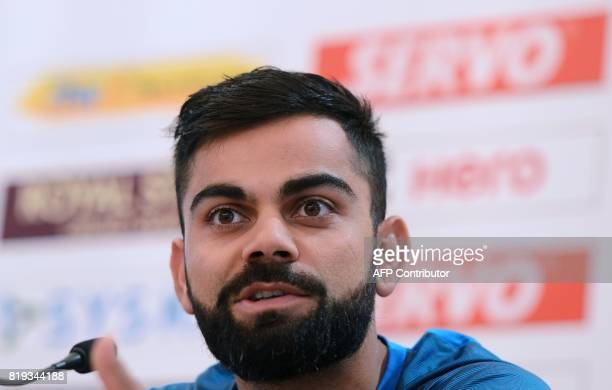 Indian cricket team captain Virat Kohli speaks during a press conference in Colombo on July 20 2017 India will play three Tests five oneday...