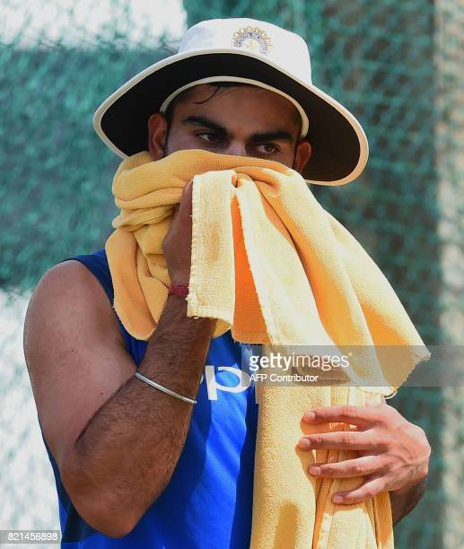 Indian cricket team captain Virat Kohli takes part in a practice session at Galle International Cricket Stadium in Galle on July 24 2017 India will...