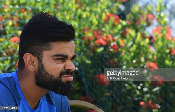 Indian cricket team captain Virat Kohli takes part in a practice session at Galle International Cricket Stadium in Galle on July 25 2017 India will...