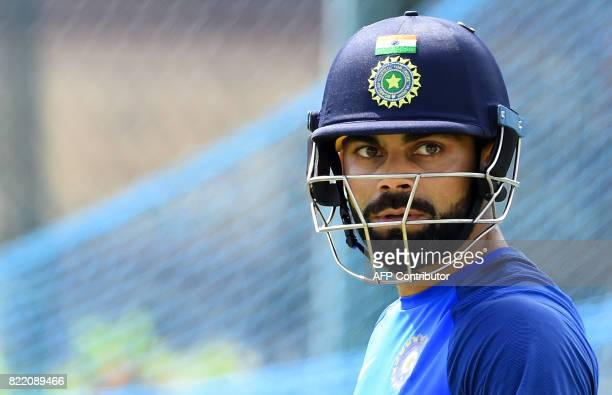 Indian cricket team captain Virat Kohli takes part in a practice session at Galle International Cricket Stadium in Galle on July 25 2017 / AFP PHOTO...