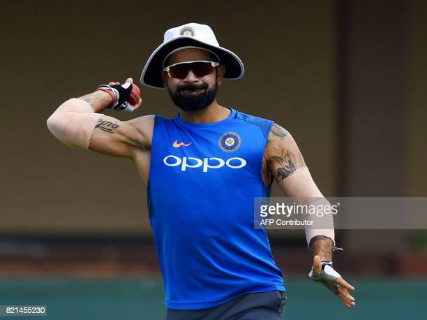 Indian cricket team captain Virat Kohli throws a ball during a practice session at Galle International Cricket Stadium in Galle on July 24 2017 India...