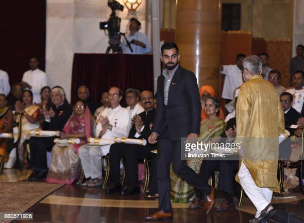 Indian Cricket Team Caption Virat Kohli during the Padma Awards 2017 ceremony at Rashtrapati Bhavan on March 30 2017 in New Delhi India The Indian...