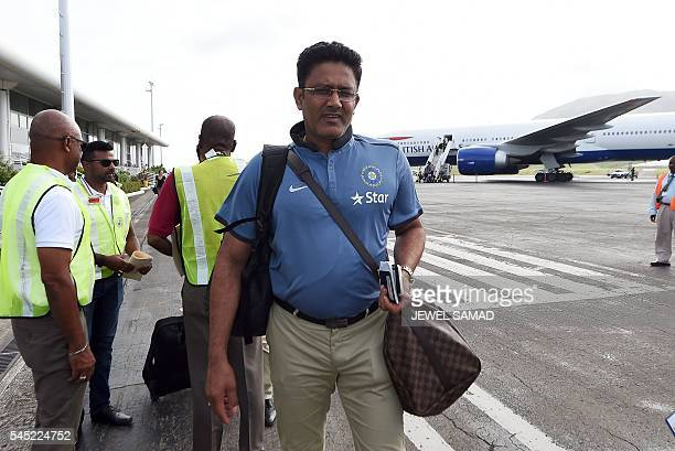 Indian cricket team head coach Anil Kumble arrives at the airport in Basseterre Saint Kitts on July 6 2016 Indian cricket team have arrived in Saint...
