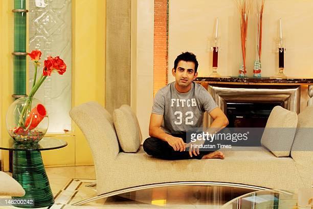 Indian Cricket team player Gautam Gambhir poses during a shoot for Brunch Magazine at his residence in Rajendera Nagar on May 31 2012 in New Delhi...