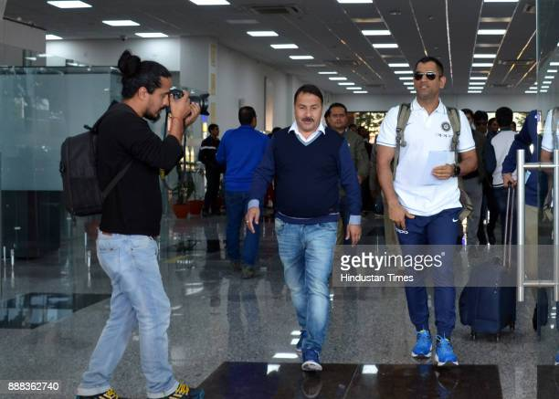 Indian cricket team player Mahendra Singh Dhoni arrives at Gaggal Airport on December 8 2017 in Dharamsala India Paytm ODI Trophy India Vs Sri Lanka...