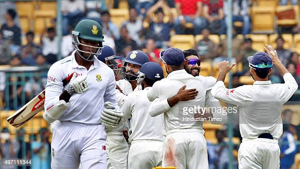 Indian cricket team player Ravindra Jadeja celebrates the dismissal of South African player Kagiso Rabada during the 2nd Test match between India and...