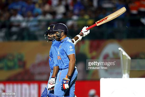 Indian cricket team player Rohit Sharma and Shikhar Dhawan during the 1st T20 cricket match between India and South Africa at Himachal Pradesh...