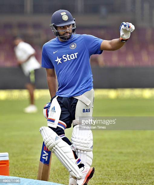 Indian Cricket team player Rohit Sharma during a practice session at M Chinnaswamy Stadium on November 13 2015 in Bengaluru India India will be...