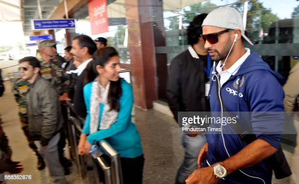 Indian cricket team player Shikhar Dhwan arrives at Gaggal Airport on December 8 2017 in Dharamsala India Paytm ODI Trophy India Vs Sri Lanka event...