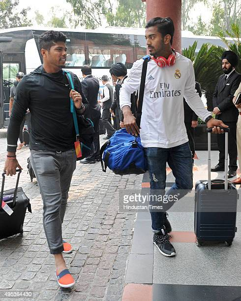 Indian cricket team player Umesh Yadav arrives at a city hotel ahead of India's first test match to be played on November 5 against South Africa on...
