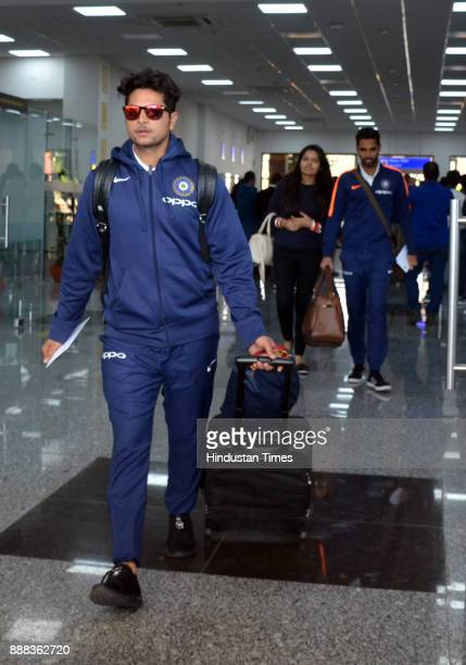 Indian cricket team players arrive at Gaggal Airport on December 8 2017 in Dharamsala India Paytm ODI Trophy India Vs Sri Lanka event will start on...