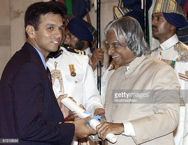 Indian cricket team's vice captain Rahul Dravid receives the Padma Shri award India's second highest award from Indian President APJ Abdul Kalam...
