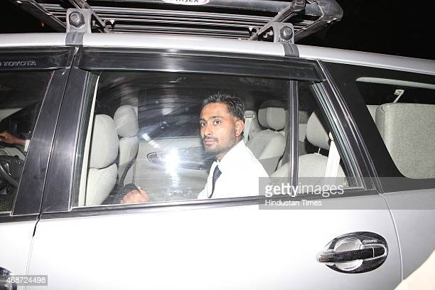 Indian cricketer Ambati Rayudu arrives to attend the wedding ceremony of Indian cricketer Suresh Raina at Leela Palace Hotel on April 3 2015 in New...