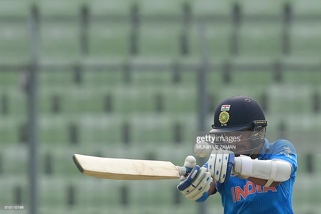Indian cricketer Anmolpreet Singh plays a shot during the Under-19 World Cup cricket final between India and West Indies at the Sher-e-Bangla National Cricket Stadium in Dhaka on February 14, 2015. AFP PHOTO / Munir uz ZAMAN / AFP / MUNIR UZ ZAMAN