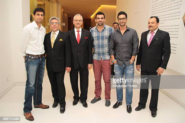 Indian Cricketer Ashish Nehra Anil Malhotra General Manager Vivanta by Taj Dwarka Rohit Khosla Senior Vice President of Taj cricketer Zaheer Khan and...