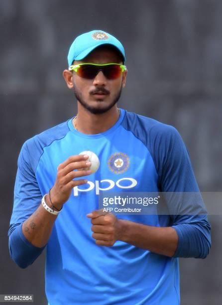 Indian cricketer Axar Patel looks on during a practice session at the Rangiri Dambulla International Cricket Stadium in Dambulla on August 18 2017...
