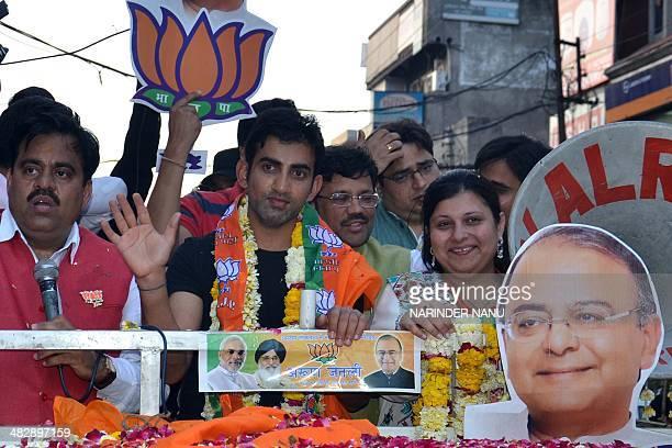 Indian cricketer Gautam Gambhir along with Sonali Jaitley the daughter of Bharatiya Janata Party senior leader and candidate for Amritsar's...