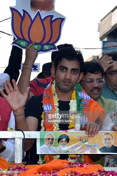 Indian cricketer Gautam Gambhir campaigns for Bharatiya Janata Party senior leader and candidate for Amritsar's parliamentary seat Arun Jaitley in...