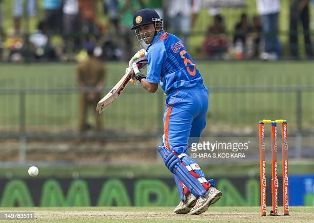 Indian cricketer Gautam Gambhir plays a shot during a fifth and final oneday international match between Sri Lanka and India at the Pallekele...