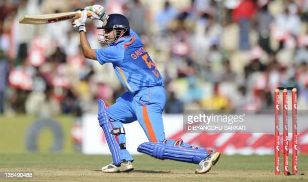 Indian cricketer Gautam Gambhir plays a shot during the final One Day International match between India and West Indies at The MAChidambaram Stadium...