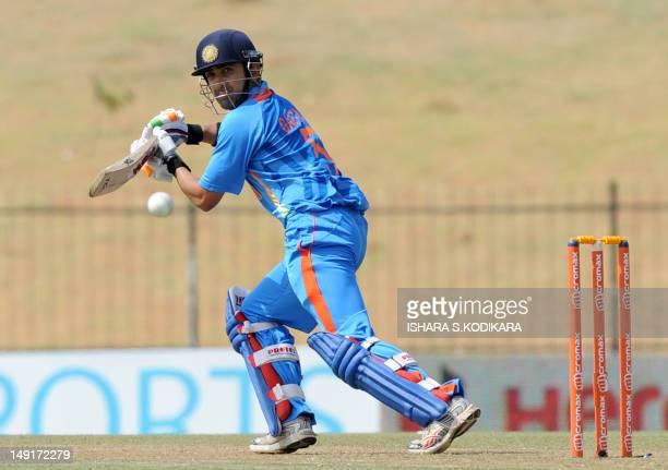 Indian cricketer Gautam Gambhir plays a shot during the second one day international match between Sri Lanka and India at the Suriyawewa Mahinda...