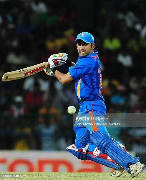 Indian cricketer Gautam Gambhir plays a shot during the third one day international match between Sri Lanka and India at the R Premadasa Cricket...